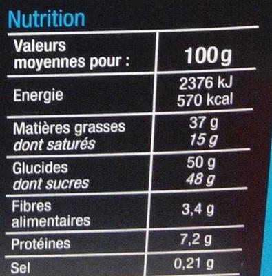 Assortiment de chocolats au lait - Nutrition facts