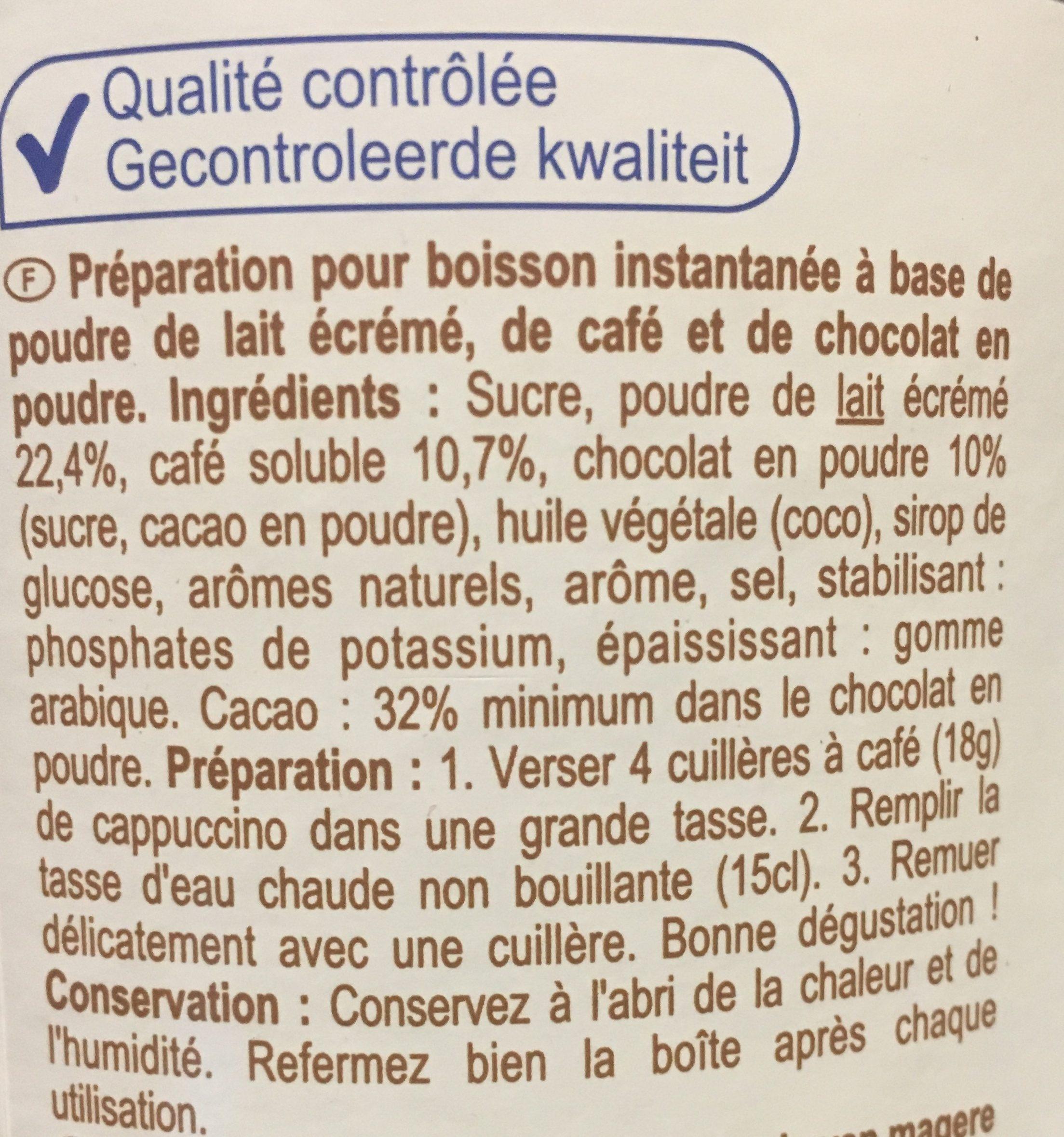 Cappuccino goût chocolat - Ingredients - fr