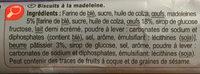 Les Palets Recette à la Madeleine - Ingredients - fr
