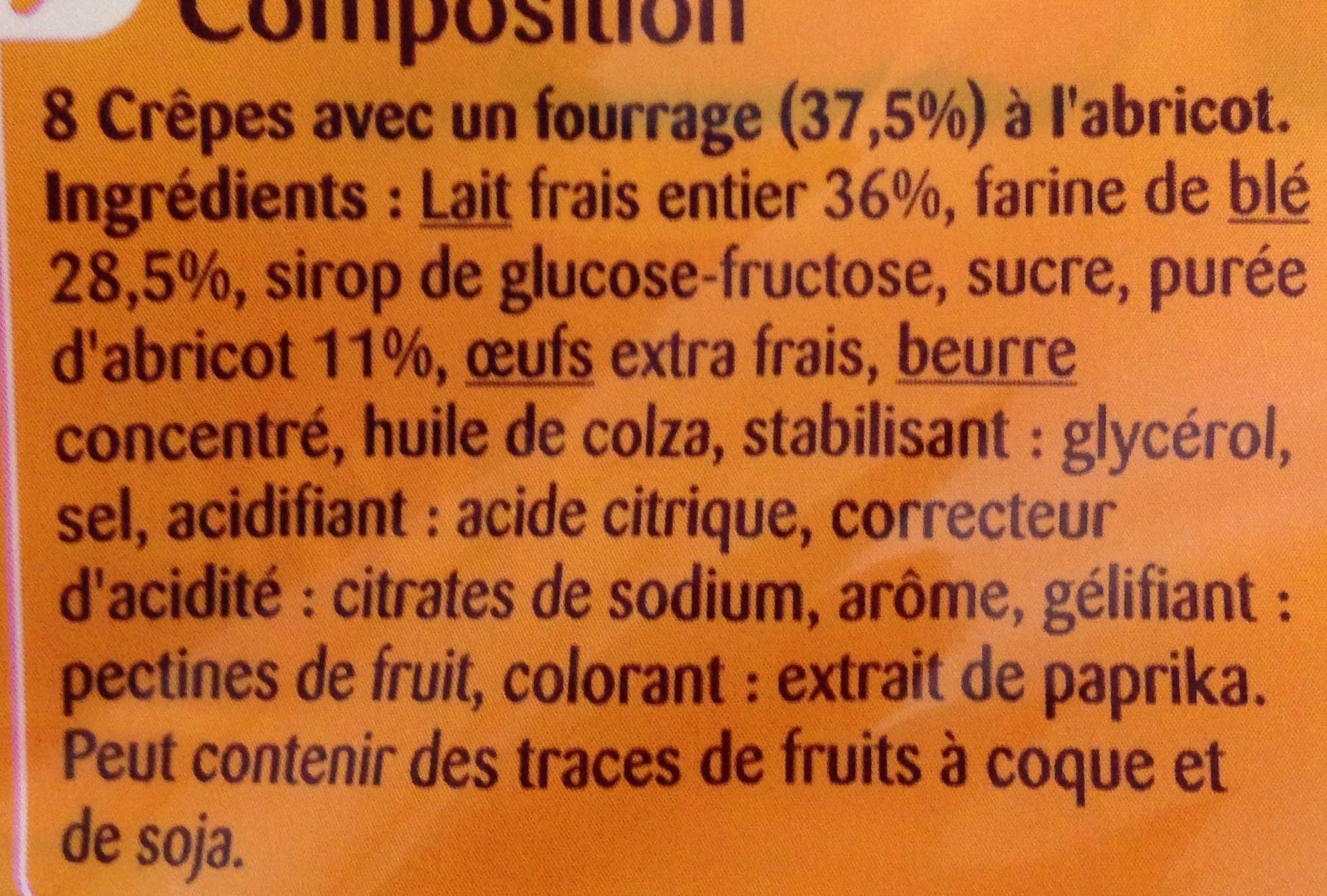 Crêpes fourrage à l'abricot - Ingrediënten