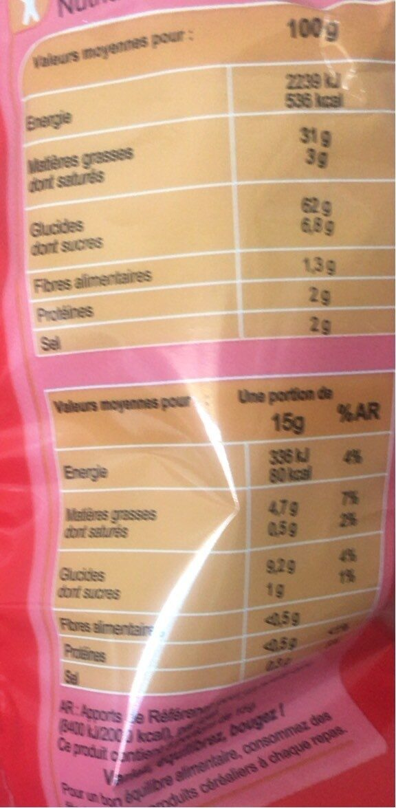 Chips à la crevette - Nutrition facts - fr