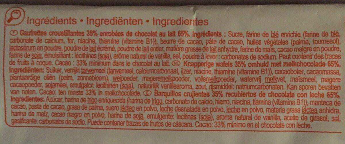 Gaufrettes enrobées de chocolat au lait - Ingredients