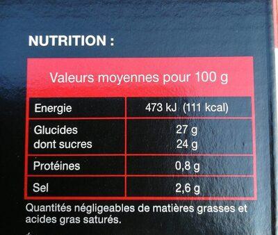 Tomato Ketchup dosettes - Valori nutrizionali - fr