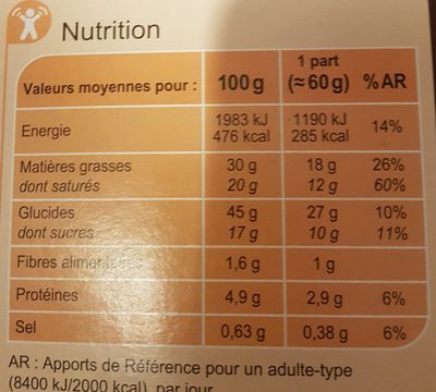 La Galette des rois A la frangipane - Informations nutritionnelles - fr