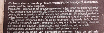 Galettes blé épinards emmental panure multigrains - Ingredients