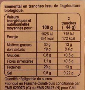 Emmental Au lait cru - Valori nutrizionali - fr