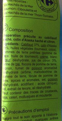 Haché de la mer cabillaud colin citron - Ingredients
