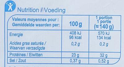Ailes de Raie - Informations nutritionnelles - fr