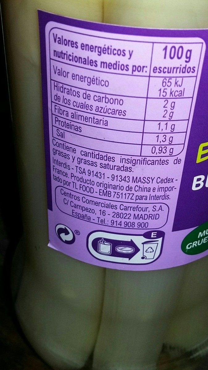 Esparragos blancos - Ingredients - fr