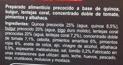 De quinoa, bulgur, lentejas coral tomate, pimientos, albahaca - Ingredients