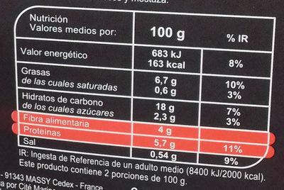 De quinoa, bulgur, lentejas coral tomate, pimientos, albahaca - Informació nutricional