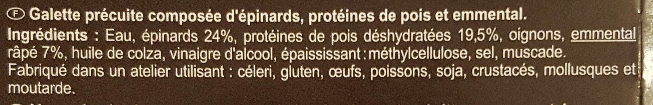 Galettes épinard, pois, emmental - Ingrediënten - fr