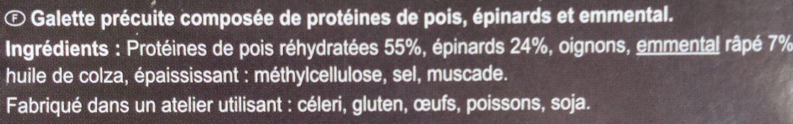Galettes épinard, pois, emmental - Ingredientes
