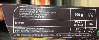 Galettes épinard, pois, emmental - Información nutricional