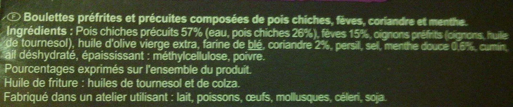 Veggie - Falafels - Garbanzos, habas, hilantro, hierbabuena - Ingredientes