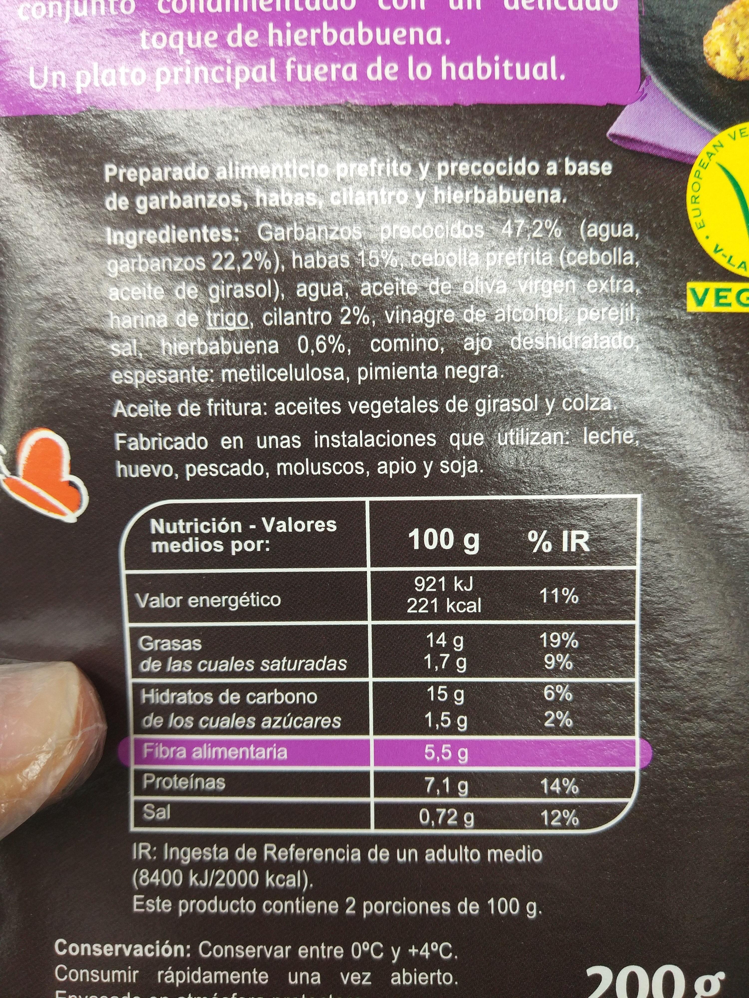 Veggie - Falafels - Garbanzos, habas, hilantro, hierbabuena - Información nutricional - es