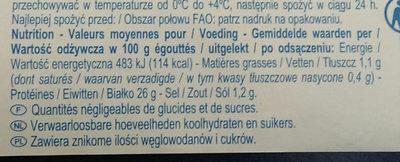 Morceaux de thon listao - Wartości odżywcze - fr