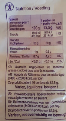 riz long grain - Nutrition facts