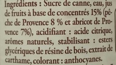 Sirop de pêche & abricot de Provence - Ingredients