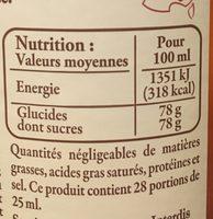 Sirop de pêche & abricot de Provence - Nutrition facts