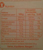 Biscottes goût brioché - Valori nutrizionali - fr