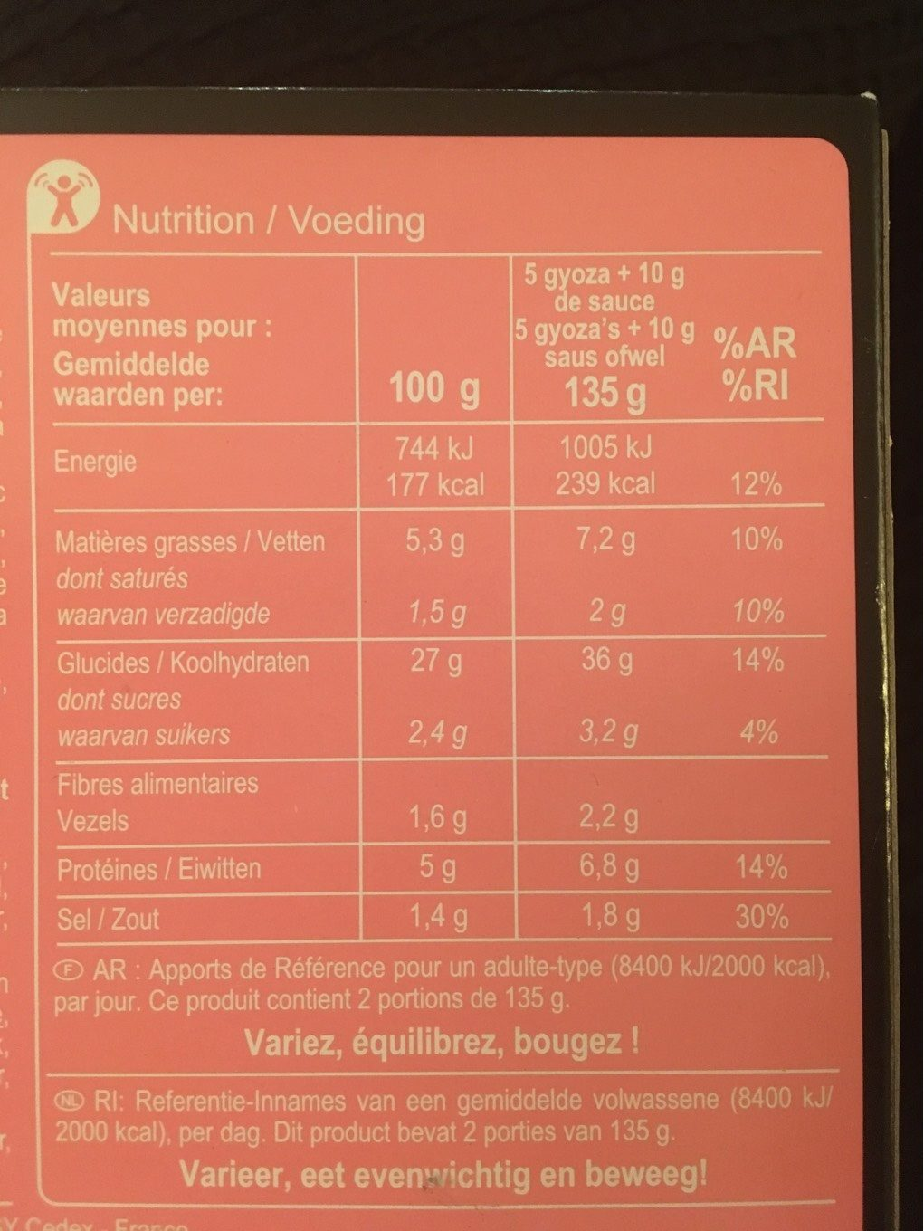Assortiment de gyoza - Nutrition facts - fr
