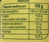 Bifidus 00% con pera - Valori nutrizionali - es