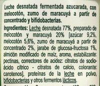 Yogur Bifidus trozos de melocoton y maracuyá - Ingredientes - es