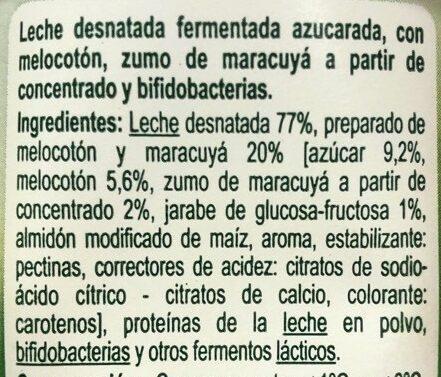 Yogur Bifidus trozoz de melocoton y maracuyá - Ingredients