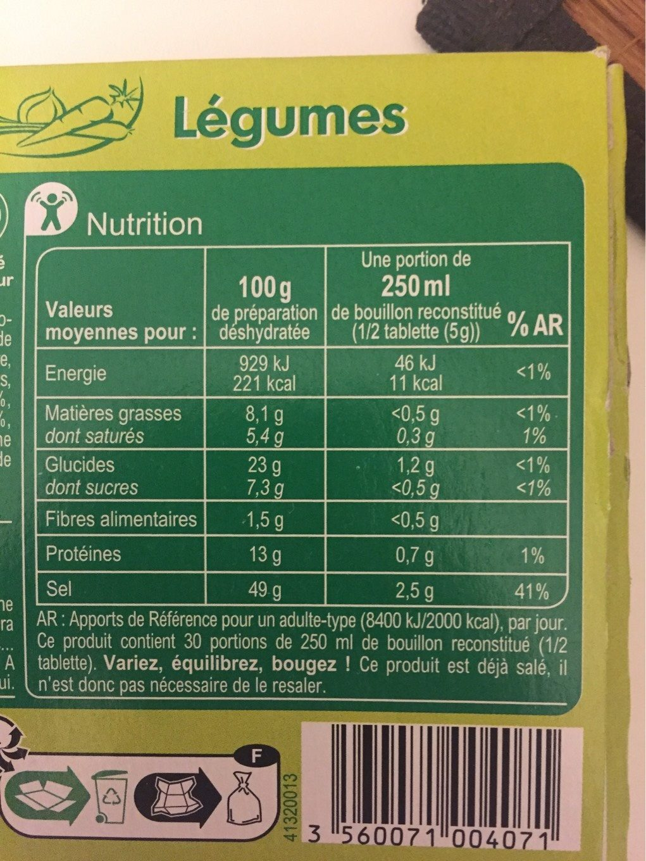 Bouillon Saveur Légumes - Informació nutricional - fr