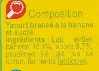 Yaourt  à la banane - Ingredients - fr