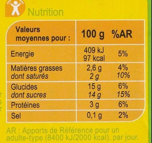 Yaourt  à la banane - Nutrition facts - fr
