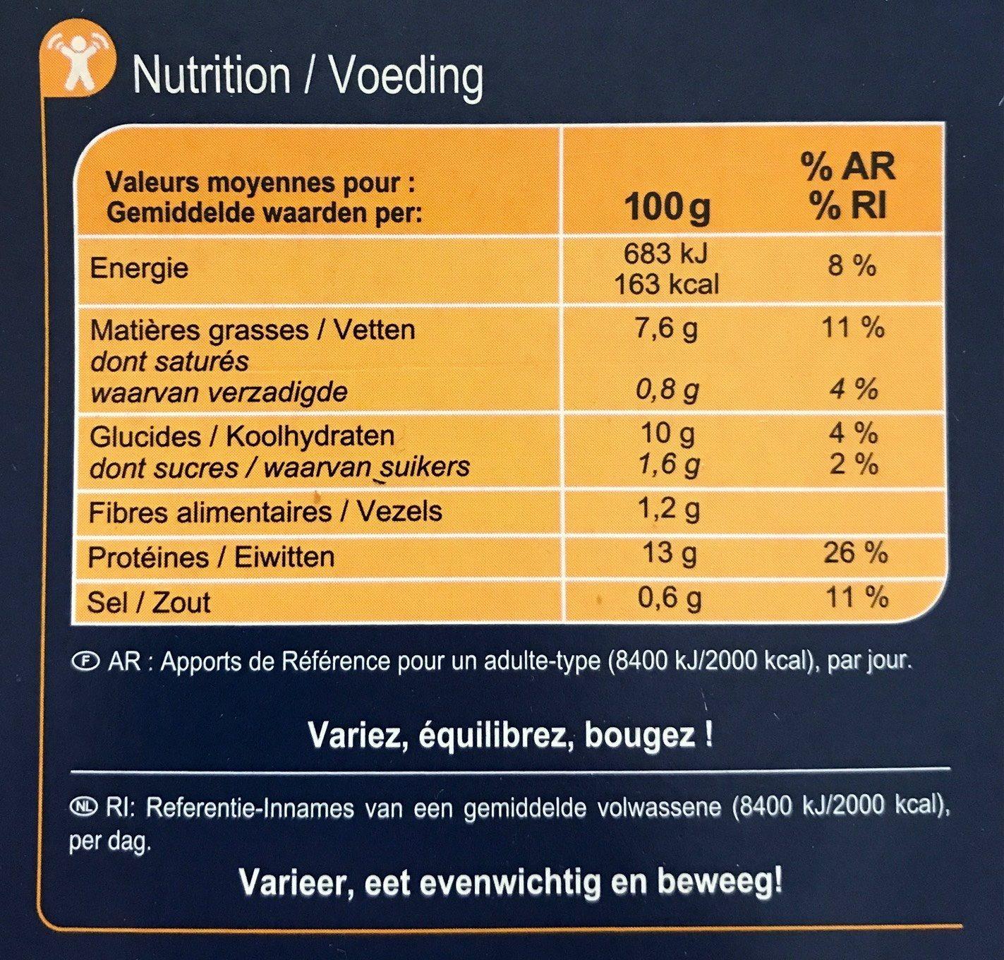 Filets de Colin d'Alaska Façon Meunière - Voedingswaarden - fr