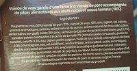 Paupiette de veau et ses festonati - Ingrédients - fr