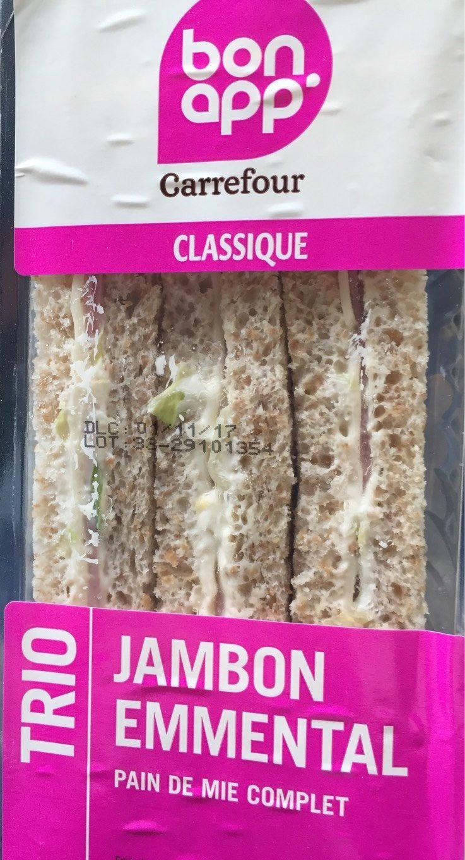 Sandwich pain de mie Trio jambon - Produit