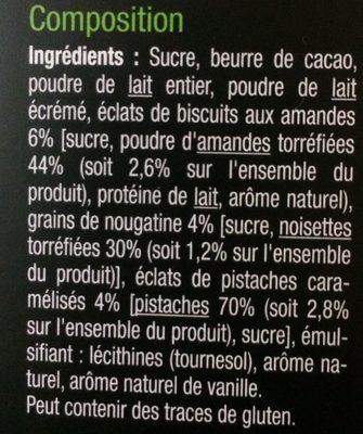 Blanc Nougatine et Pistaches Caramélisées - Ingrédients