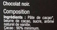 Chocolate 90% cacao - Ingredientes