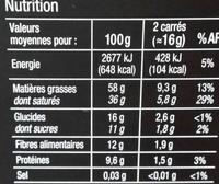 Chocolate 90% cacao - Información nutricional