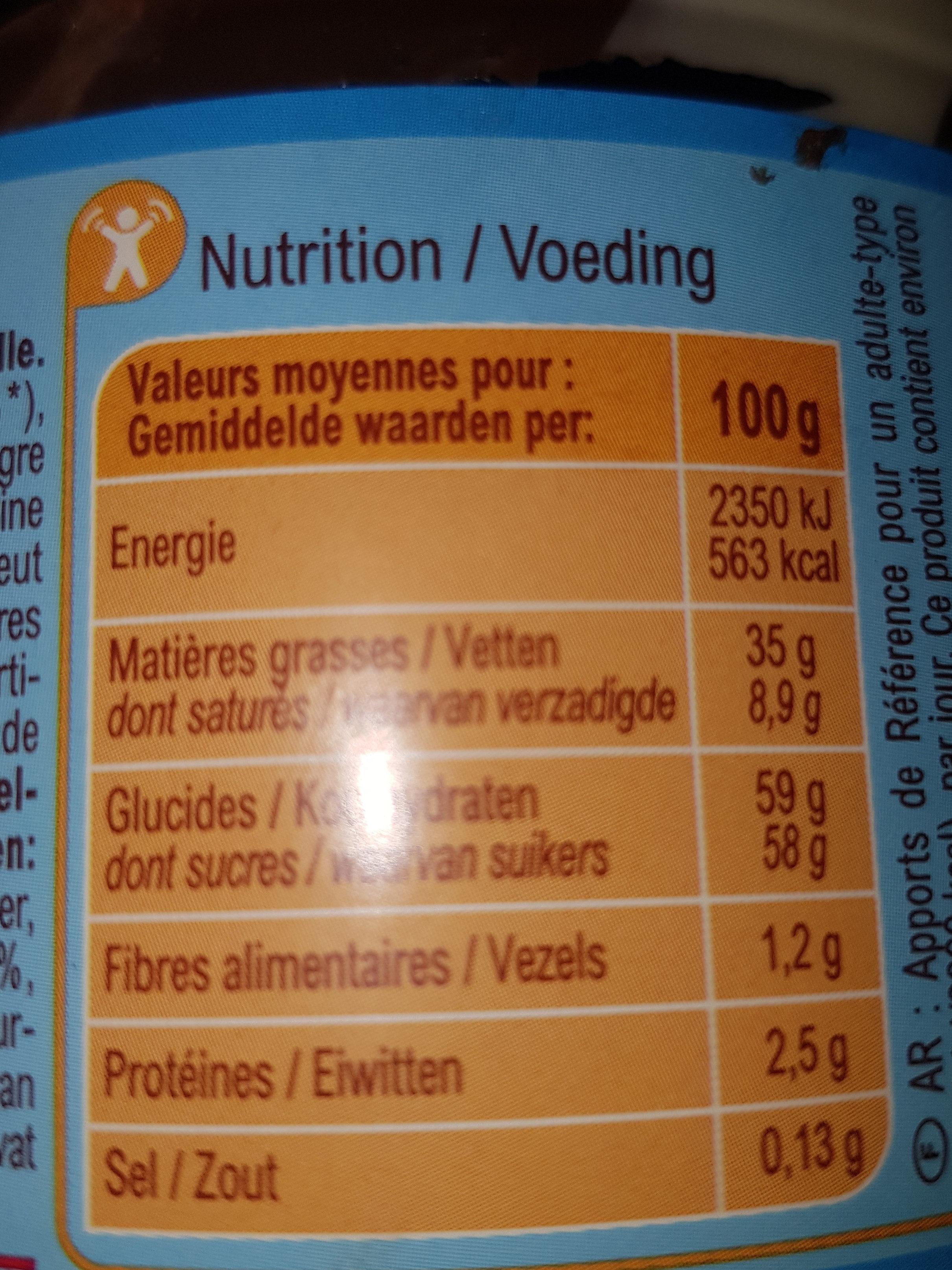 Pâte à tartiner DUO - Voedingswaarden