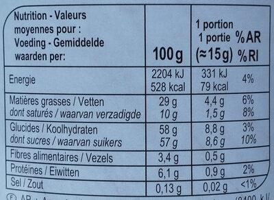Pâte à tartiner - Nutrition facts - fr