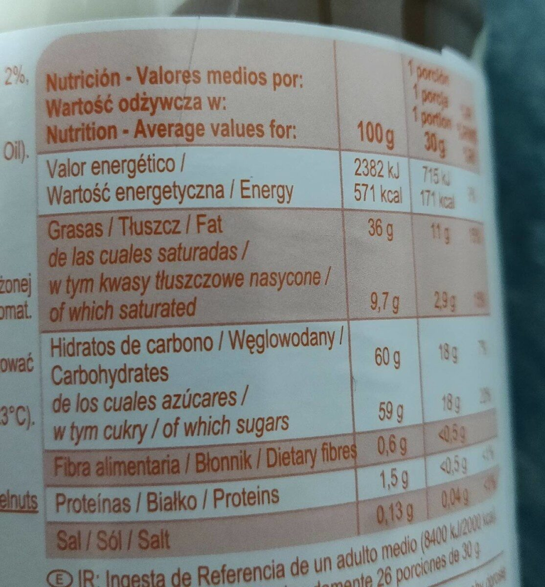 Crema al cacao dos sabores - Wartości odżywcze