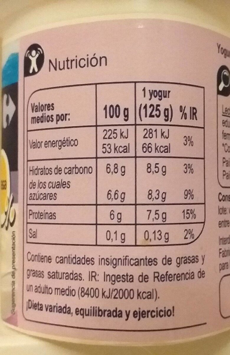 Yogur estilo griego Edulcorado - Informació nutricional - es