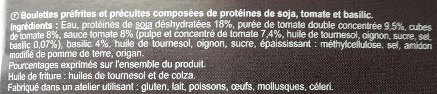 Boulettes au soja Tomate Basilic - Inhaltsstoffe - fr