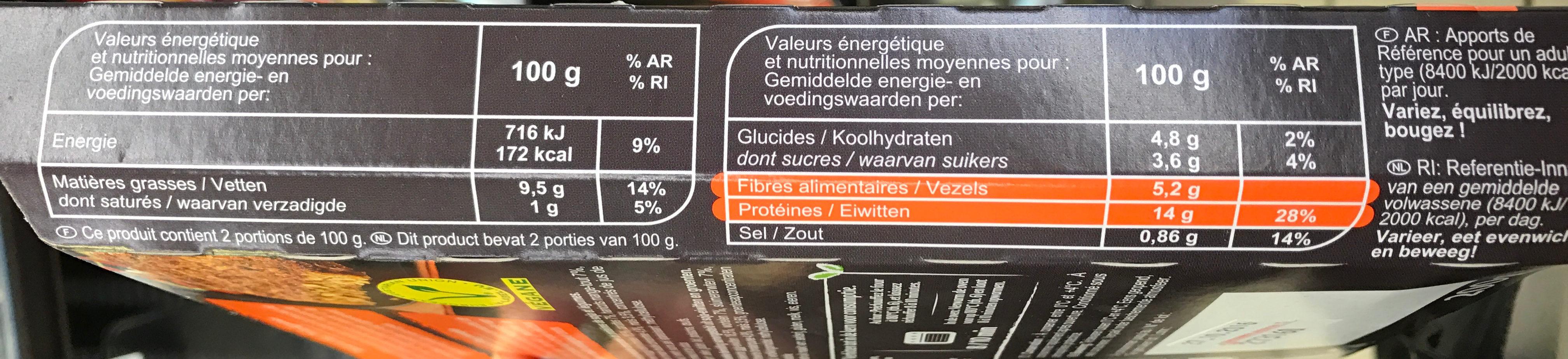 Steaks aux Soja Petits Légumes - Informations nutritionnelles