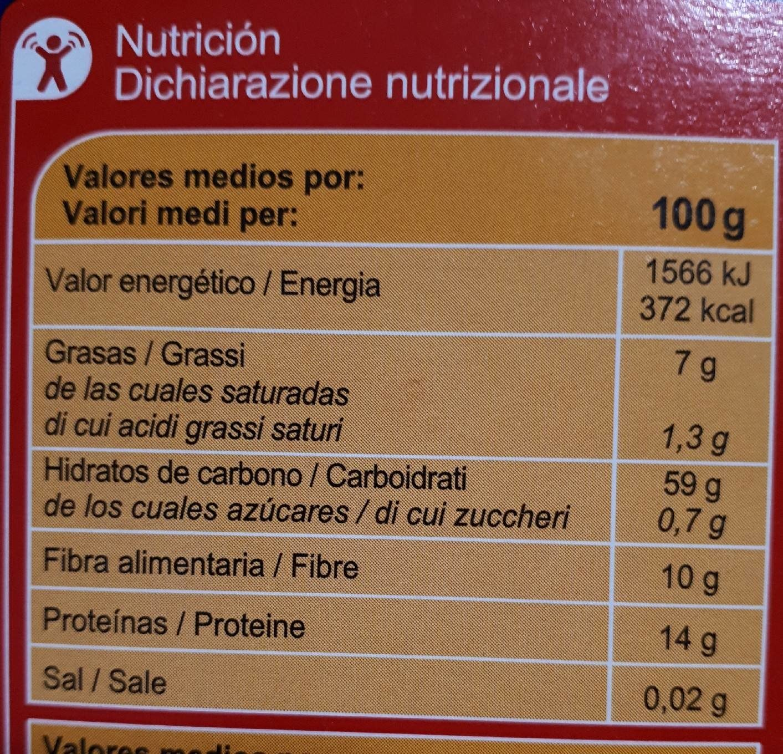 valor nutricional de los copos de avena