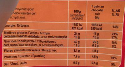 Pain au Chocolat - Nutrition facts - fr