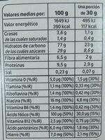 Copos chocolateados - Informació nutricional - es