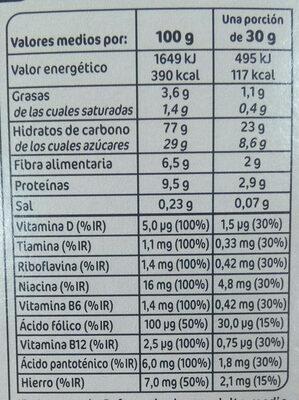Copos chocolateados - Información nutricional - es
