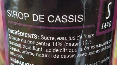 Sirop de cassis - Ingredienti - fr