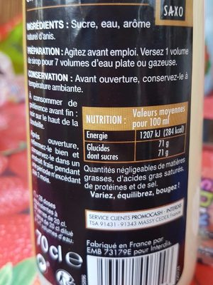 Sirop d'anis - Valori nutrizionali - fr